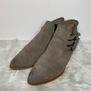 Frye grey ray belted STO suede boots size 8.5